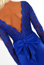 Addicted To Love Royal Blue Lace Long Sleeve Bow Back Maxi Dress