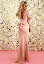Addicted To Love Pink Lace Long Sleeve Bow Back Maxi Dress
