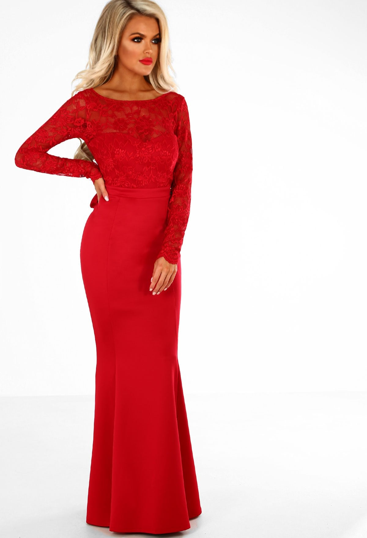 566e6d4516a1 Addicted To Love Red Lace Long Sleeve Bow Back Maxi Dress – Pink ...