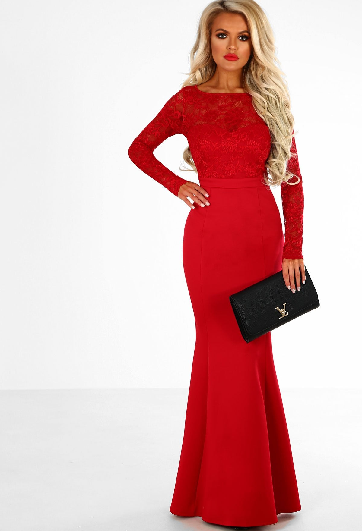 7d1fc99d8c Addicted To Love Red Lace Long Sleeve Bow Back Maxi Dress – Pink ...
