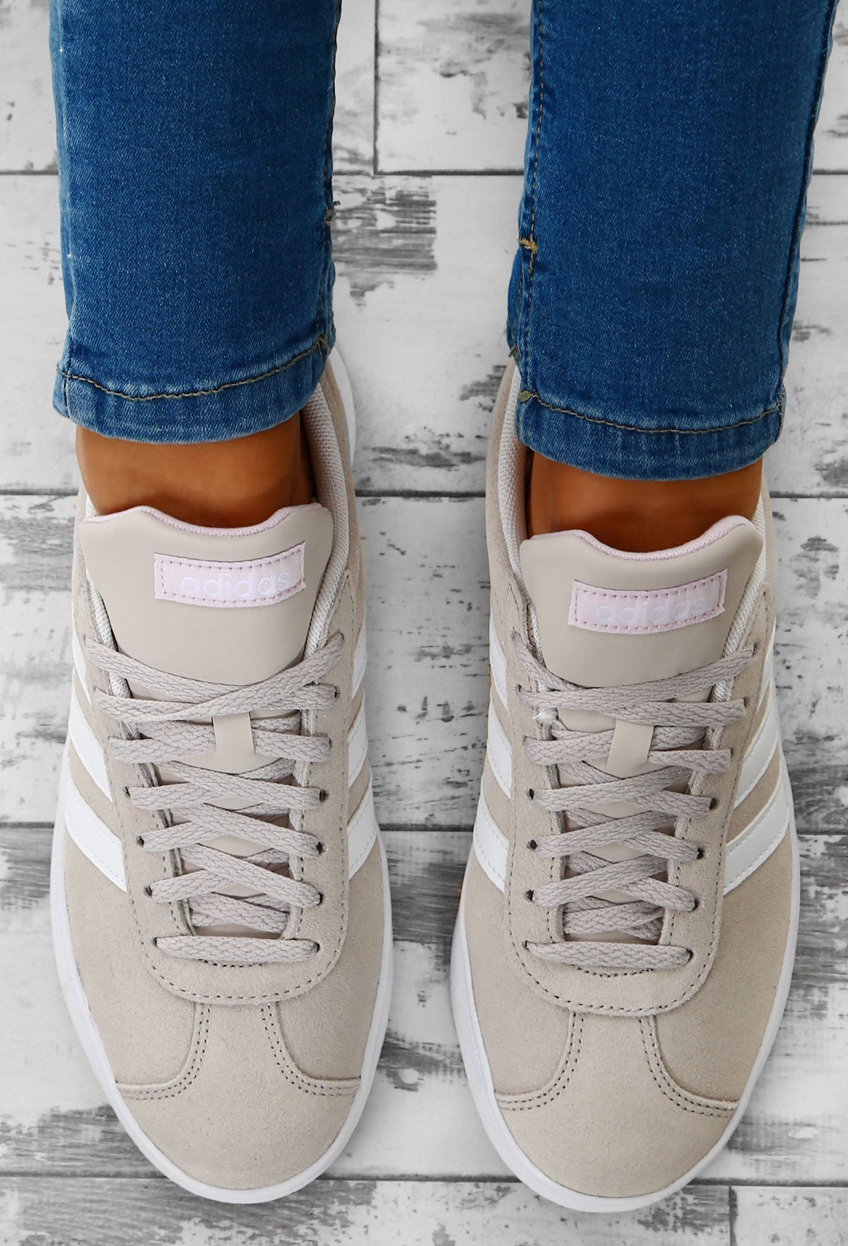 new arrivals ca677 73acc Adidas Nude VL Court 2.0 Suede Trainers