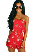 Adios Sister Red Floral Strapless Playsuit