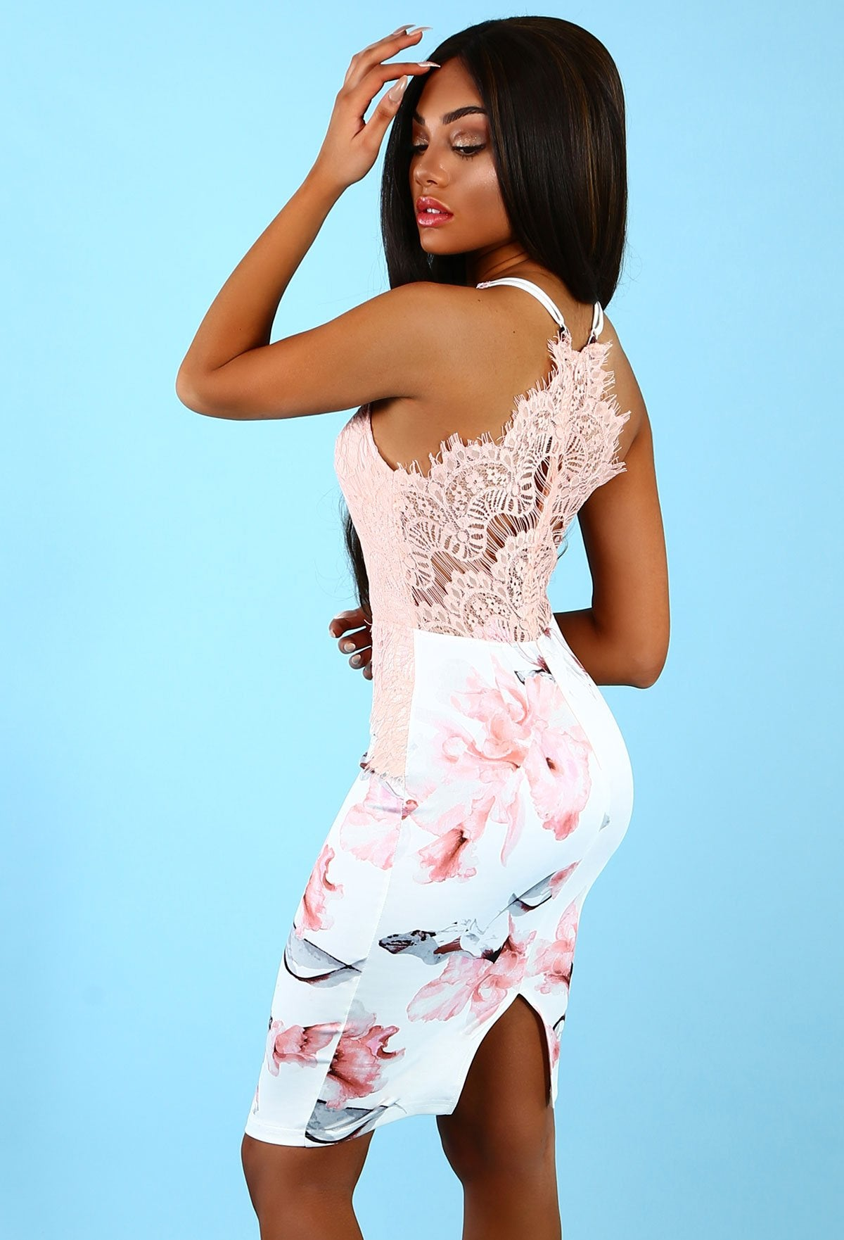 29f899bf7fcc Adorn You White and Nude Floral Lace Midi Dress – Pink Boutique UK
