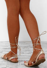 Against The Tide Gold Ankle Wrap Sandals
