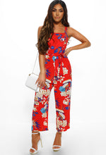 Red Floral Sleeveless Culotte Jumpsuit - Full length Front