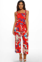 Red Floral Sleeveless Culotte Jumpsuit - Full length Front two