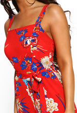 Red Floral Sleeveless Culotte Jumpsuit - Detail