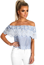 Air Kiss Blue and White Stripe Embroidered Bardot Top