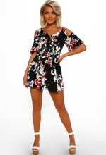 Black Floral Cold Shoulder Mini Dress - Front