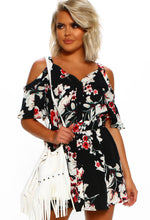 Black Floral Cold Shoulder Mini Dress - Front with Accessory