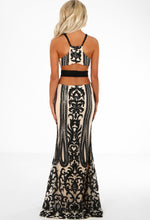 Nude and Black Sequin Maxi Dress - Back