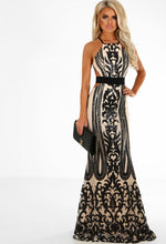 Nude and Black Sequin Maxi Dress - Front with Accessory