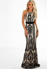 Nude and Black Sequin Maxi Dress - Front