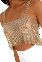 All About That Bling Gold Chainmail Diamante Crop Top