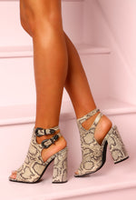 All Cried Out Multi Snake Print Block Heels