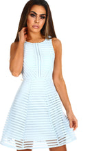 All Dolled Up Baby Blue Textured Skater Dress