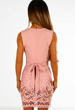 All Glam Pink Plunge Lace Skirt Bodycon Dress
