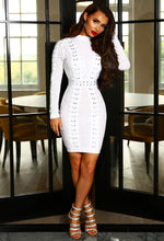 PREMIUM All Nighter White Bandage Embellished Mini Dress