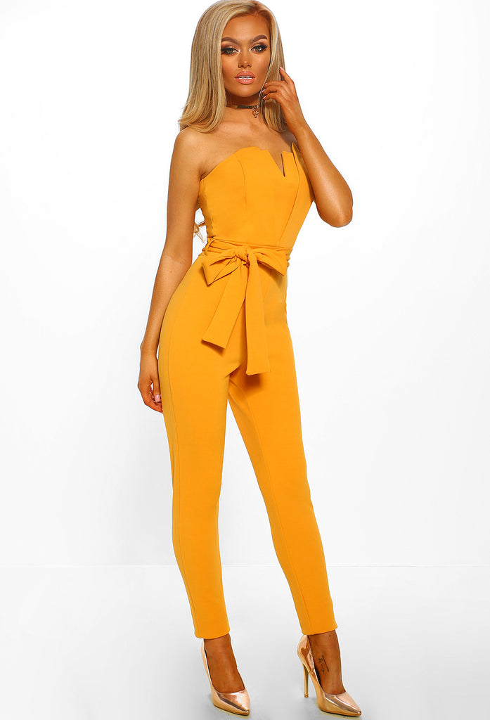 232415e7c6d8 All Or Nothing Mustard Structured Bandeau Jumpsuit – Pink Boutique UK