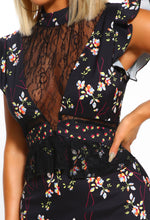 Black Floral Lace Mini Dress