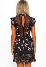 Black Floral Lace Detail Dress