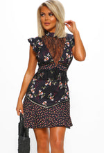 Black Floral Lace Frill Mini Dress