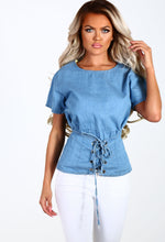 All Too Well Blue Denim Corset Front Top