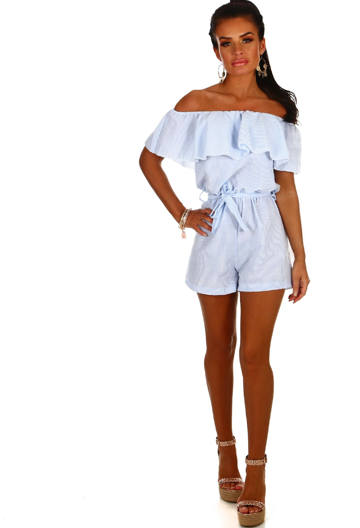 f530f96fda8 Ally Blue and White Stripe Bardot Playsuit – Pink Boutique UK