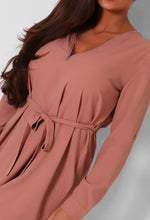 Alva Dark Nude Zip Detail Mini Dress