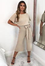 Stone Belted Culotte Jumpsuit - Front with background