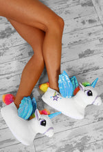 Always Be A Unicorn Blue And White Unicorn Slippers