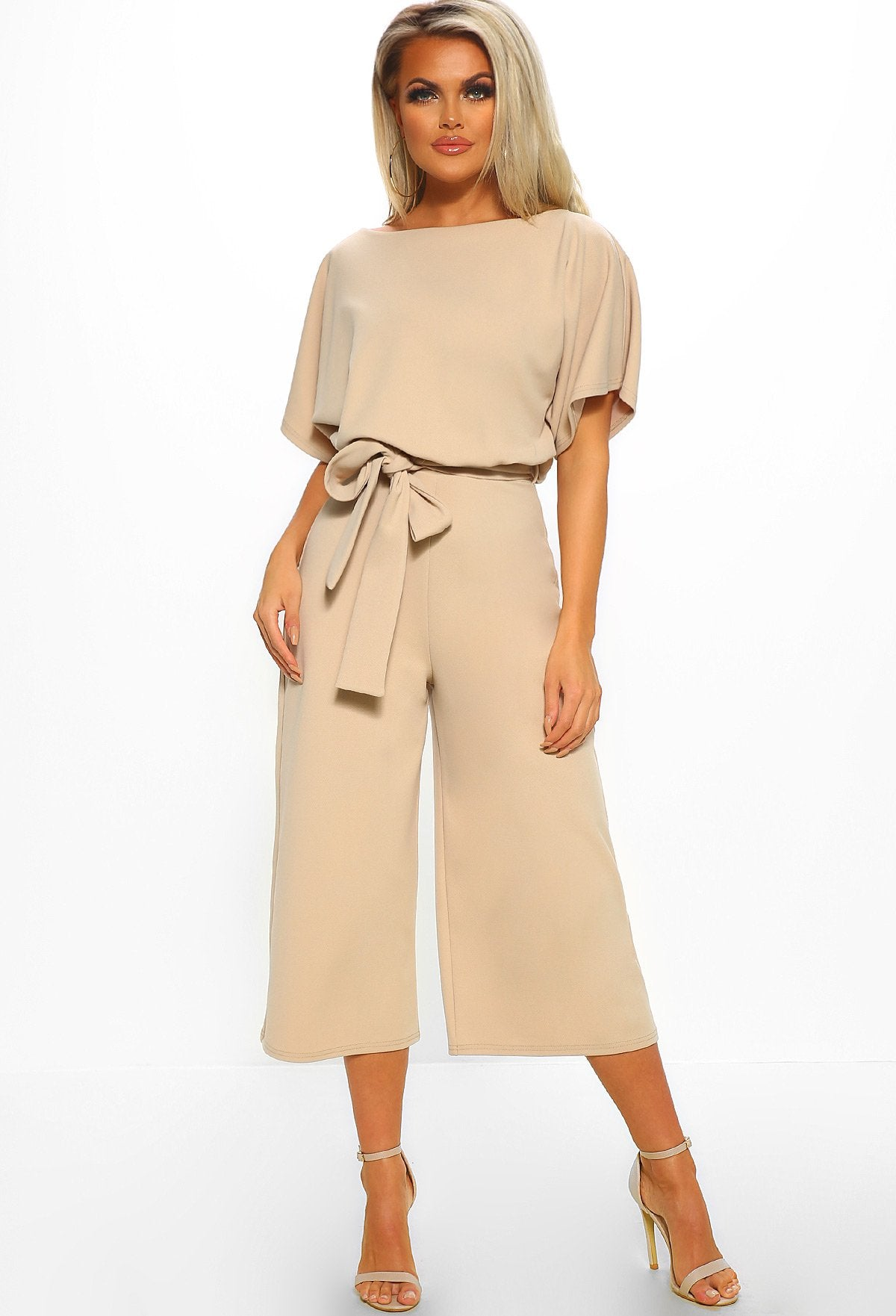 8db695426949 Always Chic Stone Belted Culotte Jumpsuit – Pink Boutique UK