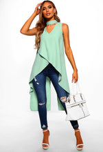 Green Dip Hem Top - Full Length Image