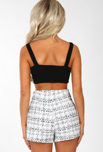 Always Glam White Boucle Button Detail High Waisted Shorts