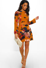 Mustard Floral Long Sleeve Mini Dress - Front with Accessory