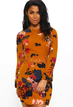 Mustard Floral Long Sleeve Mini Dress - Front