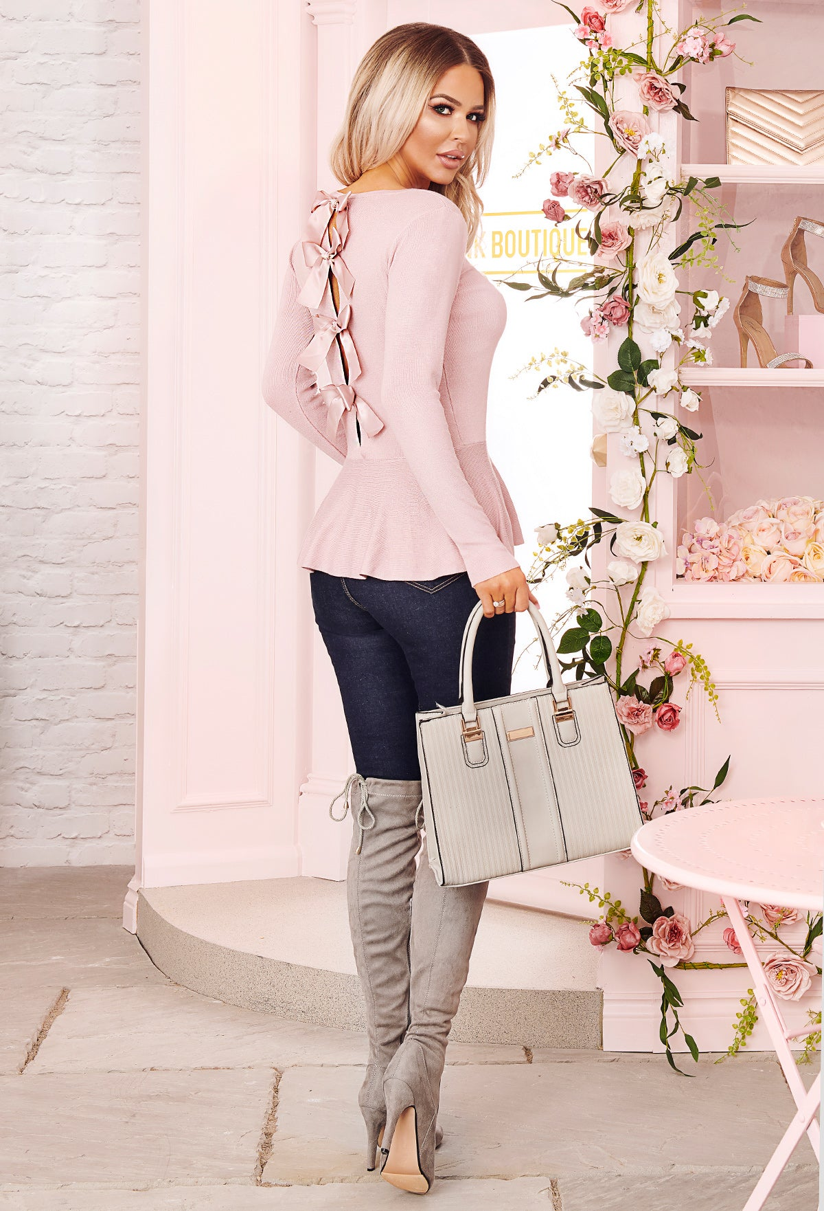 f36473b514ad8 American Dream Rose Pink Bow Detail Peplum Jumper – Pink Boutique UK