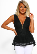 Black Zip Front Lace Top