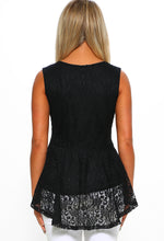 Black Lace Peplum Top - Back View