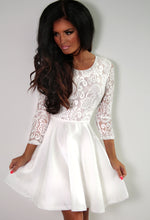 Angel White Long Sleeved Lace Skater Dress