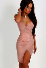 Angila Blush Pink Slinky Midi Dress
