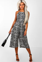 Grey Animal Print Culotte Jumpsuit - Front with Accessory