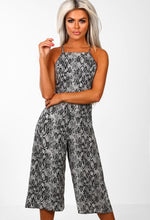 Grey Animal Print Culotte Jumpsuit - Front