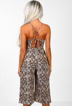 Nude Animal Print Culotte Jumpsuit Back