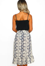 Animal Madness Multi Snake Print Frill Hem Wrap Skirt