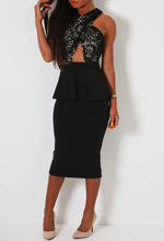 Antonelli Black and Nude Cross Front Peplum Midi Dress