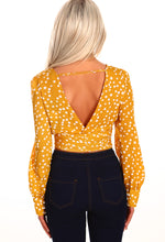 Anything Once Mustard Polka Dot Tie Front Top