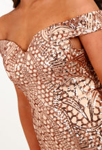 Rose Gold Sequin Bardot Maxi Dress - Sequin detail Closeup