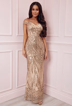 Limited Edition Avella Gold Sequin Bardot Maxi Dress