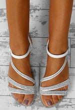 Away We Glow White Diamante Flat Strappy Sandals